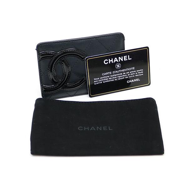 Kaitorikomachi Chanel Cambon Line Signature Card Case Black