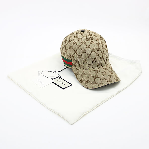 921652df ... Gucci original GG canvas baseball cap large size beige X dark brown  leather Web hat men