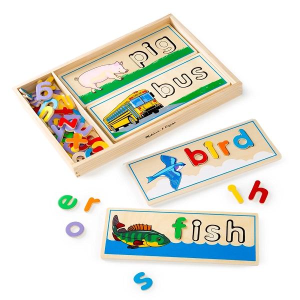 子供英語教育おもちゃ【 木製スペリングボード / See & Spell Learning Toy / 64文字 】