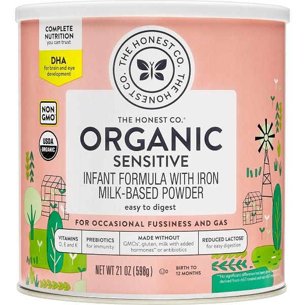 Honest Company 【 オネストカンパニー / オーガニック 粉ミルク センシティブ DHA入り / 生後0-12ヶ月の赤ちゃん用 / 598g 缶入り 】