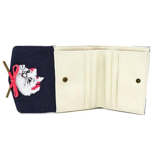 Loungeflyラウンジフライ × ディズニーWDWA1061 三つ折り 財布 マリー デニム ウォレットデニム × ホワイトXwOkTuPZi