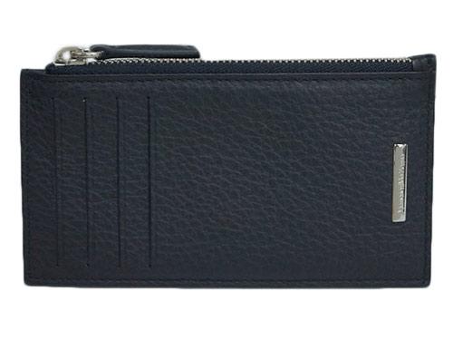 ゼニア コインケース アウトレット Ermenegildo Zegna エルメネジルド 安売り お気に入 メンズ 29506 型押しカーフ カードケース SVロゴプレート キャッシュレスで5%還元 ブラック