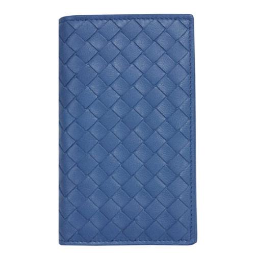 ボッテガヴェネタ カードケース 156823-4315 BOTTEGA VENETA ボッテガ 二つ折り イントレッチャート ナッパ ブルエッテ ブルー アウトレット あす楽対応
