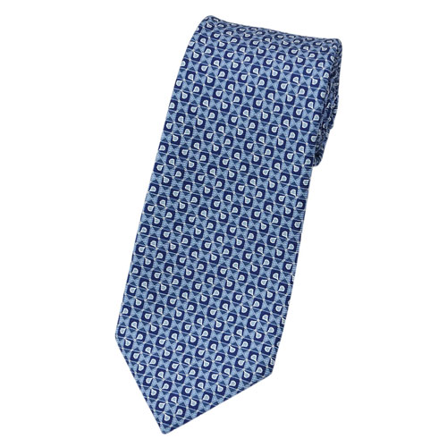 ブルガリ ネクタイ 242189 BVLGARI メンズ プリント デザイン ブルー/ネイビー/ベビーブルー 紙袋付き