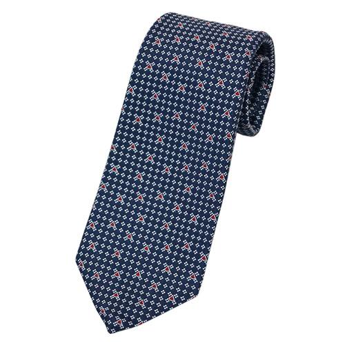 ブルガリ ネクタイ 242847 BVLGARI メンズ ジャガード デザイン RARE DIVA ネイビー/ホワイト/レッド 紙袋付き