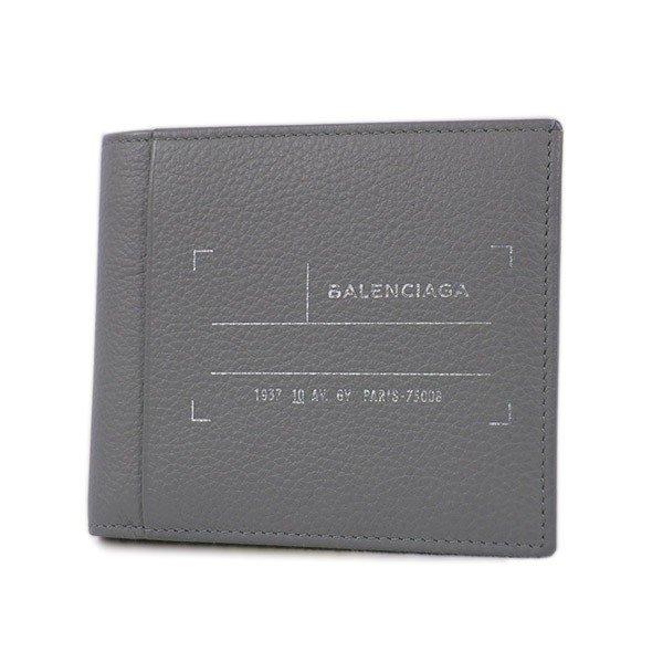 【中古 展示品】バレンシアガ 財布 458697 BALENCIAGA 二つ折り財布 札 カード レザー グレー ロゴ メンズ YJ2866 キャッシュレスで5%還元!