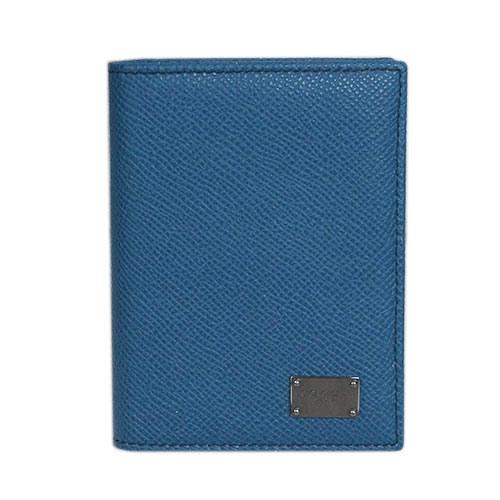 ドルチェ&ガッバーナ DG カードケース たて型 マチ付き 名刺入れ ロゴプレート 型押しカーフ ブルー BP1643 アウトレット【わけありセール】