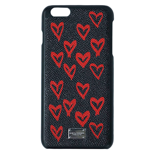 ポイント5倍以上! ドルチェ&ガッバーナ iPhoneケース BP2126 DOLCE&GABBANA iPhone7+/8+ カバー SVロゴプレート ハート ブラック/レッド アウトレット