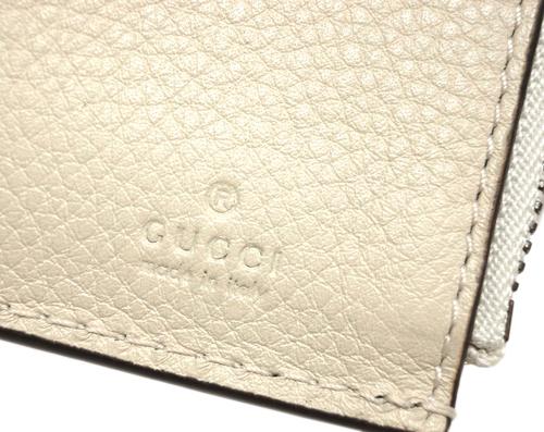 グッチ 財布 498094 9022 GUCCI 二つ折り コンパクト財布 小銭入れ 取り外しパスカードケース付き アニマリエ ビー アイボリー アウトレット キャッシュレスで5%還元HEDI29eYW
