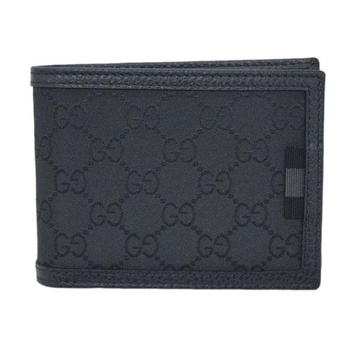 グッチ 財布 333042-8615 GUCCI メンズ 二つ折り 札入れ 横長 取り外しカードケース ウェビング GGナイロン スモールG ブラック 型押しカーフBK アウトレット