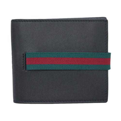 グッチ 財布 406470-1060 GUCCI メンズ 二つ折り 小銭入れ付き ウェビング レッドxグリーン カーフ ブラック アウトレット