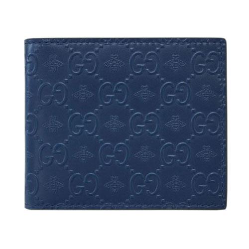 グッチ 財布 406612-4284 GUCCI メンズ 二つ折り マネークリップ 札入れ シグネチャー ビー ブルーxブラック アウトレット