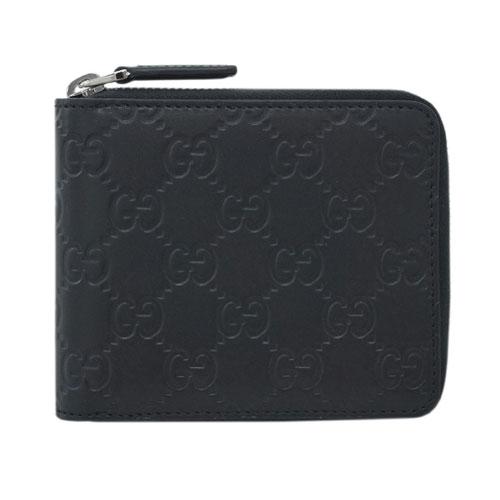 グッチ 財布 473964-1000 GUCCI メンズ 二つ折り ラウンドファスナー 札入れ グッチッシマ ブラック アウトレット