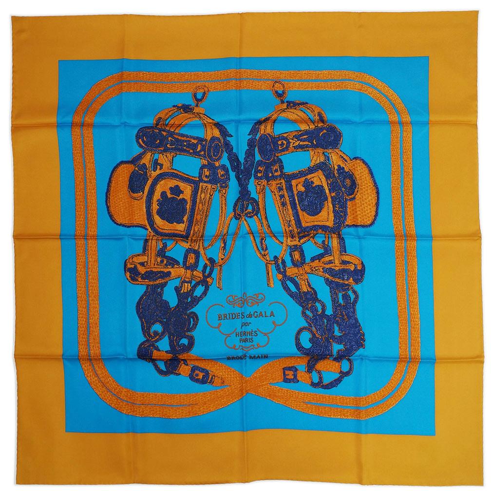 エルメス スカーフ HERMES ソルド カレ 90CMS ツイル シルク100% BRIDES DE GALA BRODE キャラメル/コバルト/ネイビー 29195