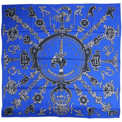 ポイント5倍以上! エルメス スカーフ HERMES ソルド カレ ツイル シルク100% 90CMS SERIO LUDERE ブルー/ブラック/ホワイト 29227 あす楽対応