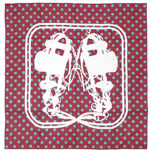 ポイント5倍以上! エルメス スカーフ HERMES ソルド カレ 90CMS ツイル シルク100% BRIDES DE GALA A POIS ルージュ/アクア/ホワイト  30514
