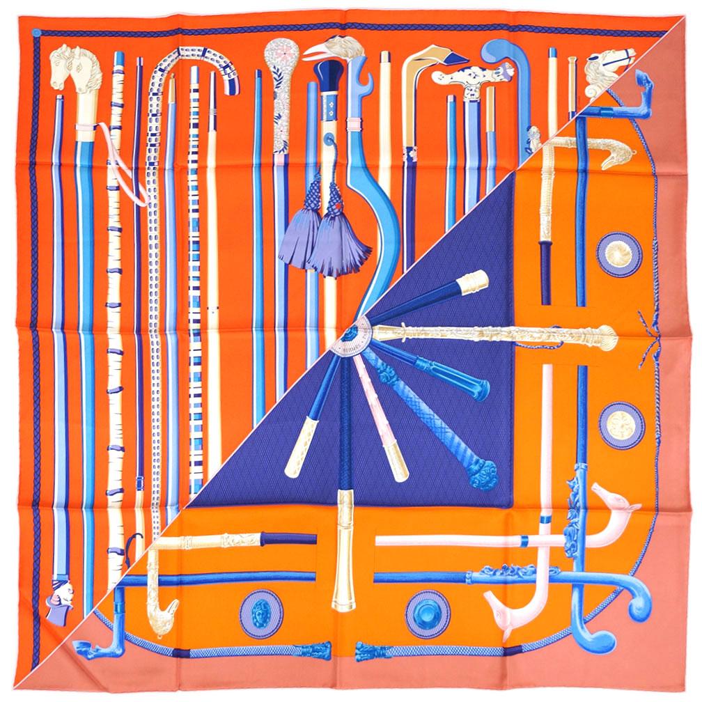 初売りポイント5倍以上! エルメス スカーフ H003140S05 HERMES ソルド カレ ツイル シルク100% 90CMS CANNES ET CANNES オレンジ/ブルー/アイボリー 31712 わけありセール キャッシュレスで5%還元!【期間:2020/1/1~1/5 23:59迄】