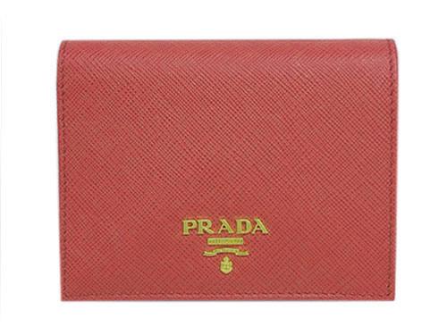プラダ 財布 1MV204 PRADA 二つ折り 小 小銭入れ付き サッフィアーノ TAMARIS タマリス カーフピンク ゴールドロゴ アウトレット