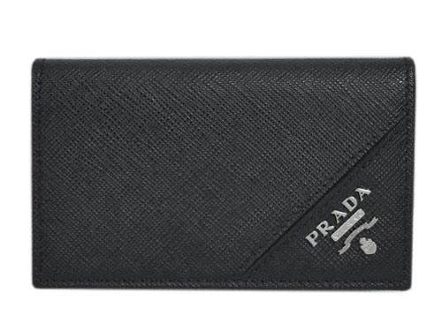 プラダ カードケース 2MC122 PRADA カードケース マチ付き 名刺入れ メンズ サッフィアーノ メタル NERO ネロ カーフブラック アウトレット あす楽対応