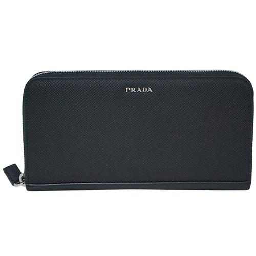 プラダ 財布 2ML317 PRADA ラウンドファスナー長財布 メンズ サッフィアーノ キュイール NERO ネロ カーフブラック アウトレット