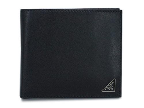 プラダ 財布 2MO738 PRADA メンズ 二つ折り 小銭入れ付き ヴィテッロ NERO ネロ カーフブラック 三角プレート アウトレット あす楽対応