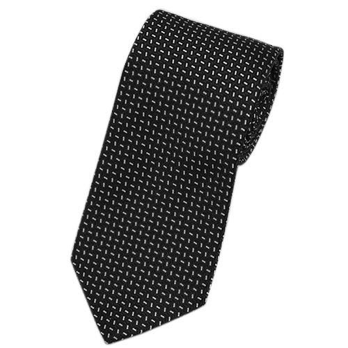 ポイント5倍以上! プラダ ネクタイ UCR77 PRADA メンズ ジャガード マイクロデザイン NERO ブラック/シルバー アウトレット