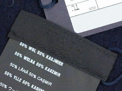 49c573076ad8 ... プラダマフラーカシミア/ウール無地BLEUネイビーロゴ刺繍USC128アウトレット ...