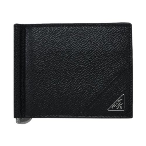 プラダ 財布 2MN077 PRADA メンズ 二つ折り マネークリップ 札入れ VIT.MICRO GRAIN NERO ネロ カーフブラック 三角プレート アウトレット あす楽対応