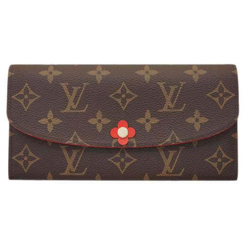 ルイヴィトン 財布 M62941 LOUIS VUITTON ヴィトン モノグラム LV ファスナー長札 ポルトフォイユ・エミリー ルージュ フラワーチャーム付き あす楽対応
