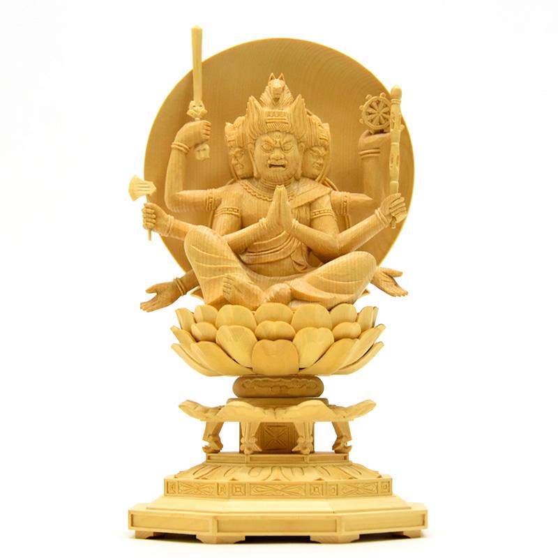 木彫り仏像 【馬頭観音菩薩(馬頭明王)】 桧木 坐2.5寸 総高約24cm