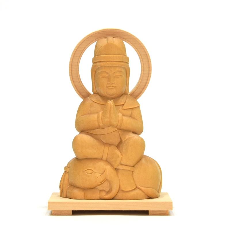 木彫り仏像 童子型【普賢菩薩】 干支お守り本尊 辰年(たつ) 巳年(へび) 材質:桧(ヒノキ)
