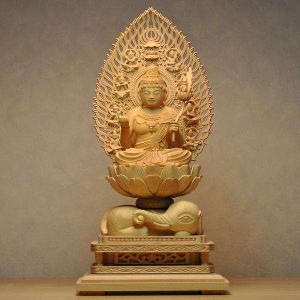 木彫り仏像 干支御守本尊【普賢菩薩】 飛天光背白象座 柘植 坐2.0寸 辰年・巳年