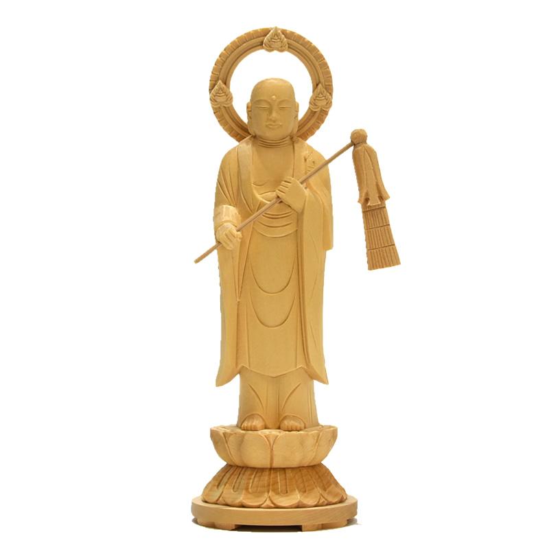 ★在庫処分★ 【六地蔵之幢幡地藏】 桧木(ヒノキ) 総高21cm 木彫り仏像