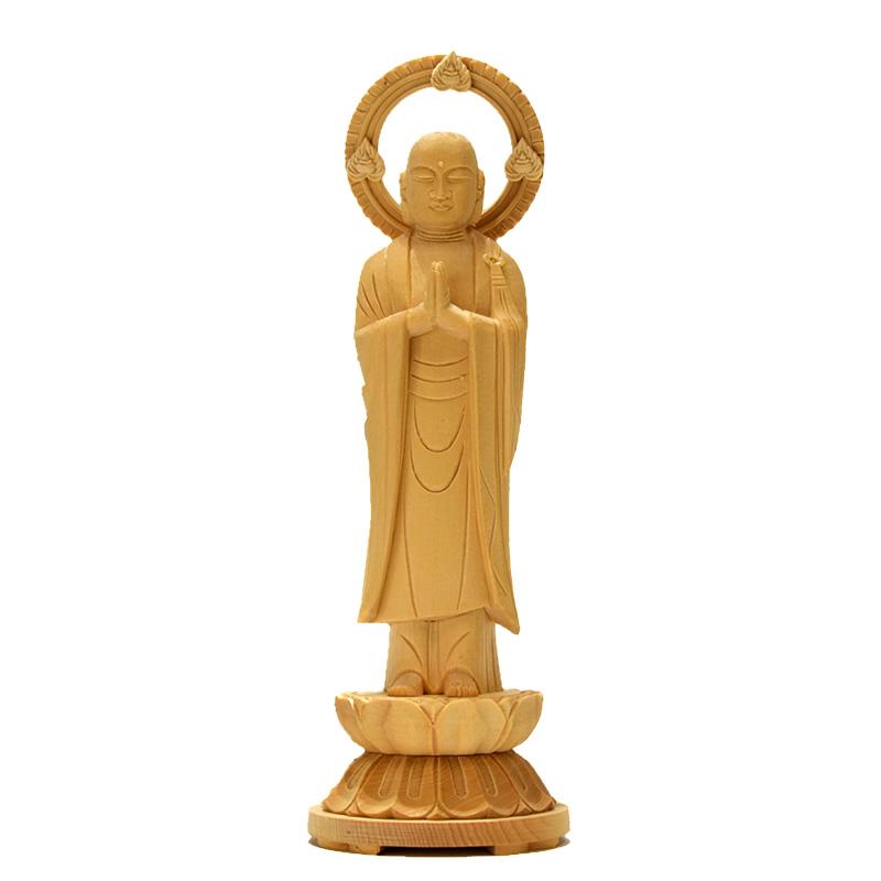 ★在庫処分★ 木彫り仏像 【六地蔵之合掌地藏】 桧木(ヒノキ) 総高21cm 地蔵菩薩