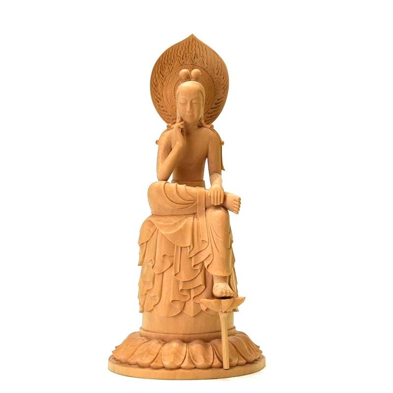 木彫り仏像 中宮寺形【菩薩半跏像(伝如意輪観音)】 桧木(ヒノキ) 総高22cm
