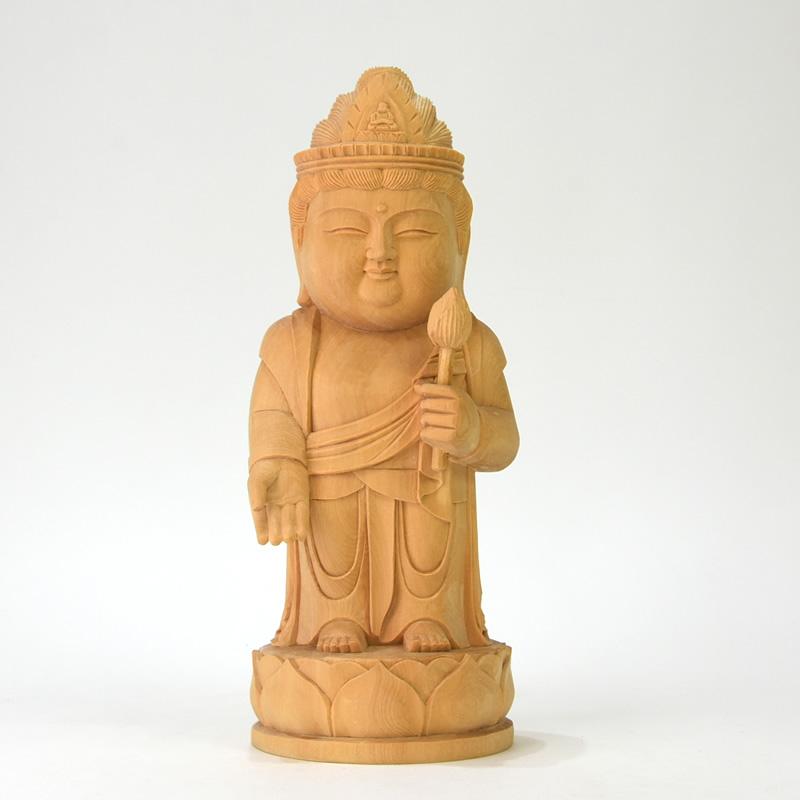 木彫り仏像 【童子型聖観音菩薩】 檜(ひのき) 総高25cm