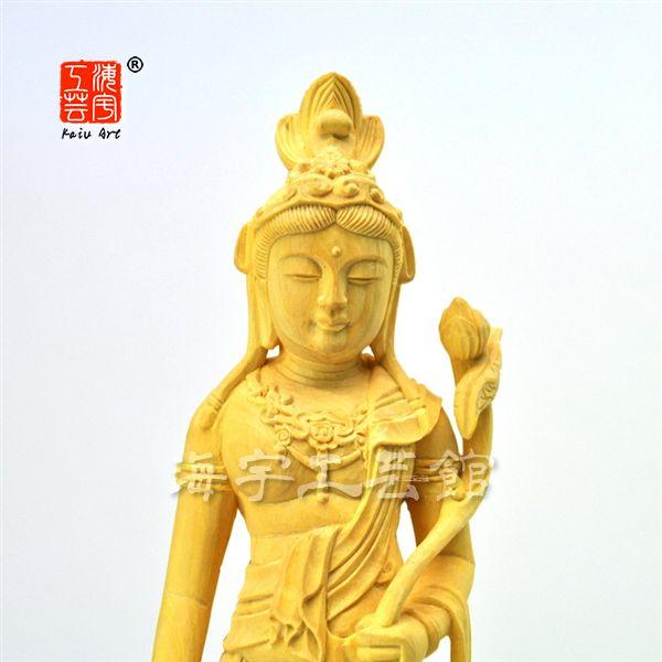木彫り仏像 【聖観世音菩薩(聖観音菩薩)】 柘植(ツゲ)  総高約22cm