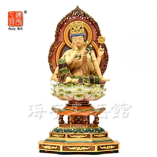 木彫り仏像 【如意輪観音菩薩】 桧木彩色仕上げ 坐3.5寸 総高31cm