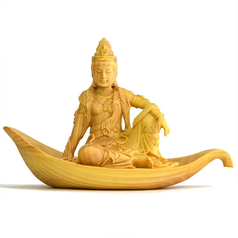 木彫り仏像 小仏-【一葉観音菩薩】柘植 金泥仕様 総高5.6cm ミニ仏像