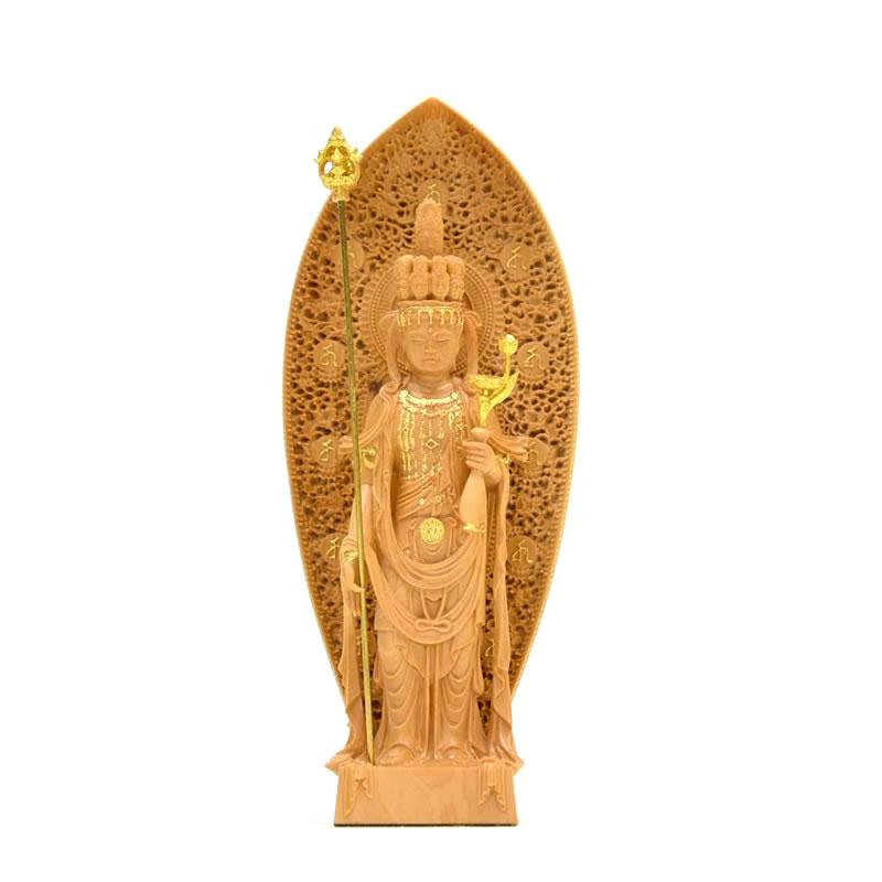 木彫り仏像 小仏-長谷寺形【十一面観音菩薩】 柘植 金泥仕様 総高12cm