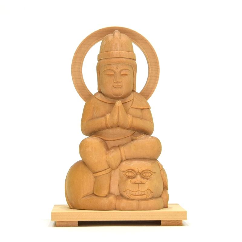 木彫り仏像 童子型【文殊菩薩】 干支お守り本尊 卯年(うさぎ) 材質:桧(ヒノキ)