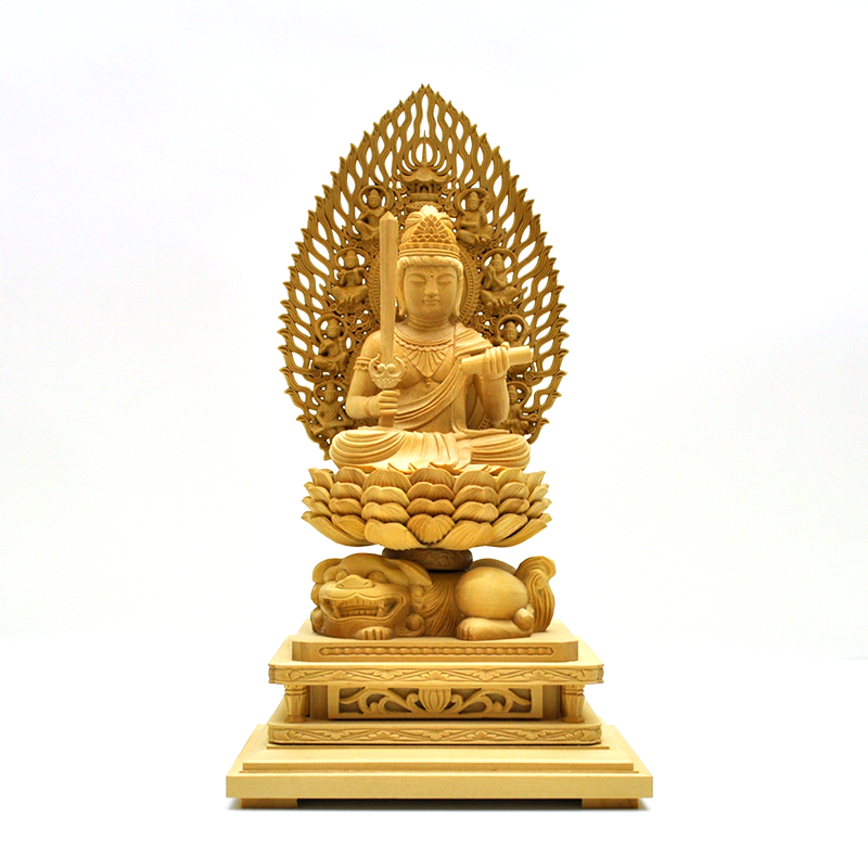 木彫り仏像 干支お守り本尊【文殊菩薩】 飛天光背獅子台 柘植 坐2.5寸 総高26.5cm