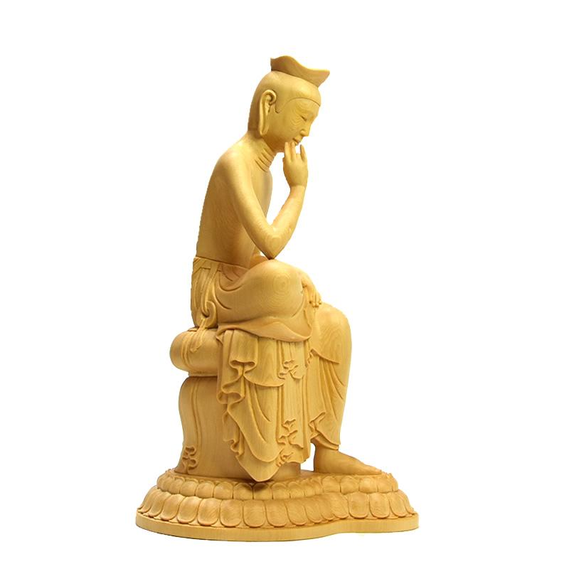 木彫仏像 【広隆寺形弥勒菩薩半跏思惟像】 桧木 総高約30cm