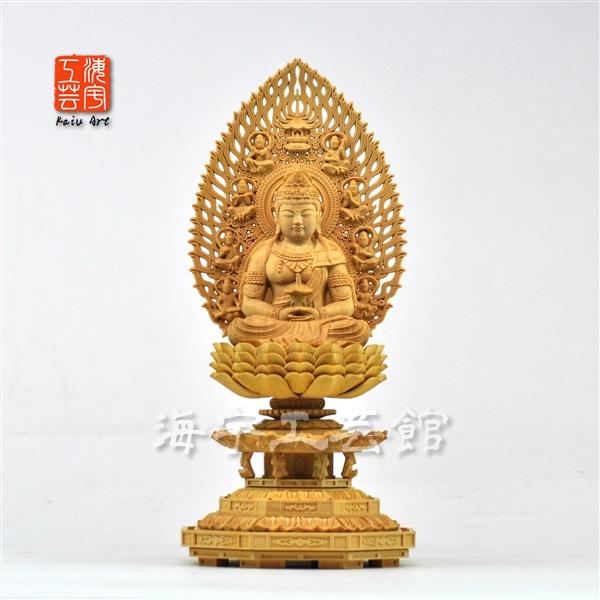 木彫り仏像 【弥勒菩薩】 八角台飛天光背 柘植(ツゲ) 坐2.0寸