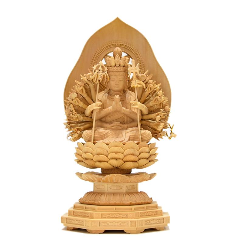 木彫り仏像 干支お守り本尊【千手観音菩薩】(子年) 柘植 坐2.5寸 総高25cm