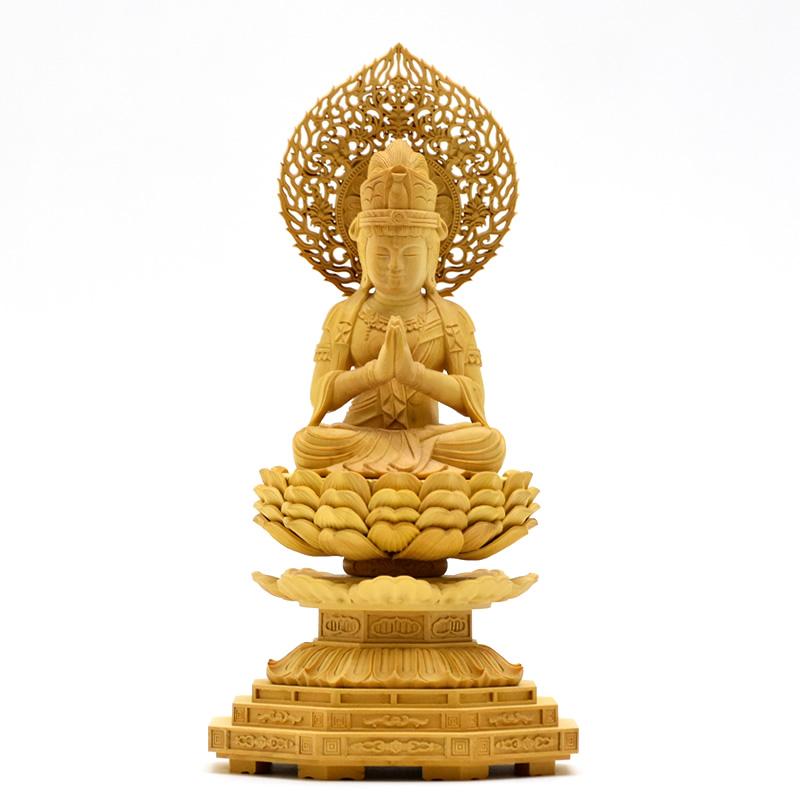 木彫り仏像 干支お守り本尊 【勢至菩薩】 柘植(つげ) 坐2.5寸 総高23.5cm 午年