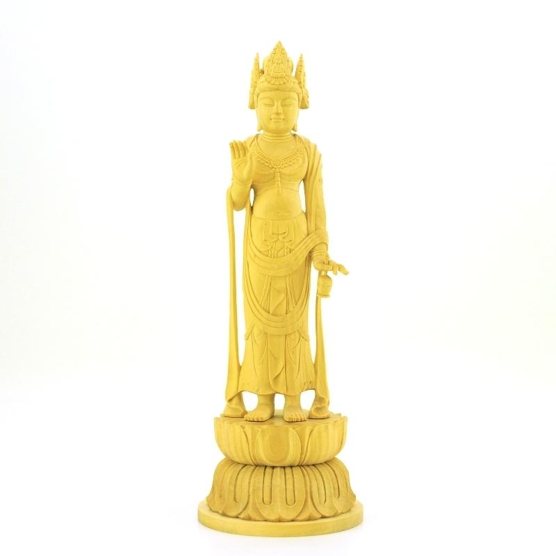 木彫り仏像 【法隆寺形夢違観音】 柘植 立5.0寸 総高22.5cm