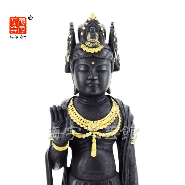 木彫り仏像 【法隆寺形夢違観音】 柘植(ツゲ) 彩色 立5.0寸 総高22.5cm