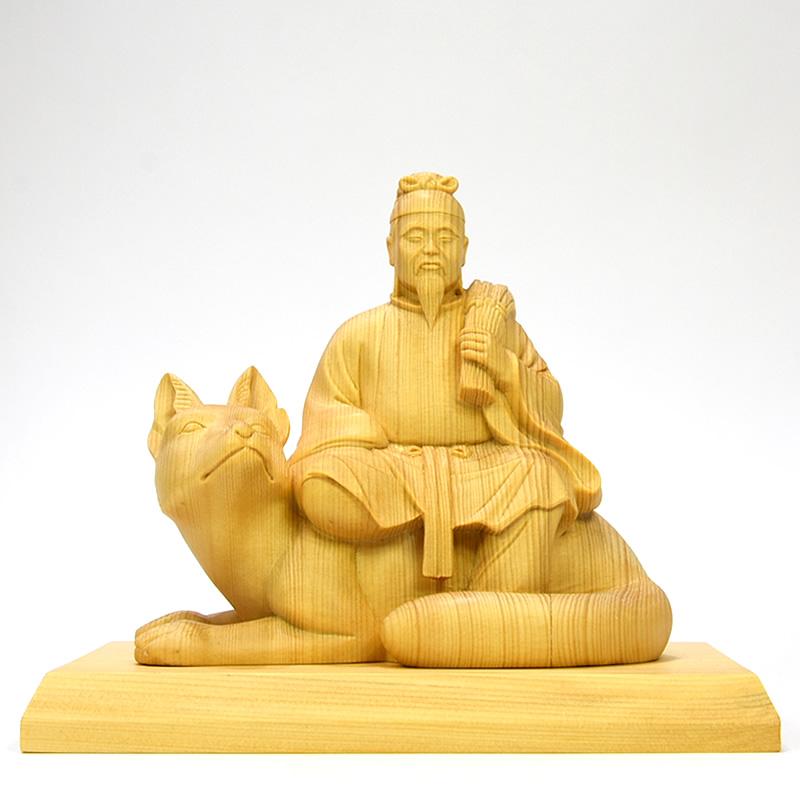 木彫り神像 桧木【稲荷神】 桧木寄木 本体高さ13.5cm 宇迦之御魂神(うかのみたまのかみ)