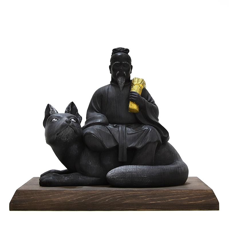 木彫り神像 桧木【稲荷神】 時代色仕上げ 本体高さ13.5cm 宇迦之御魂神(うかのみたまのかみ)